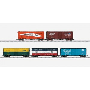 45653 Marklin HO US Set with 5 Boxcars