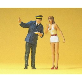 Preiser 45001 1:22.5 G Scale LGB Gauge Inquiry Clerk + Girl