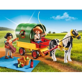PLAYMOBIL® 6948 Picnic with Pony Wagon - S&H FREE