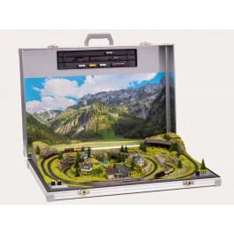 NOCH 88300 Z Scale Briefcase Layout Meran w Marklin Z tracks 80 x 55 x 16 cm